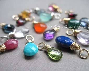 Add a Gemstone, Customize Your Necklace, Wire Wrapped Gemstone Pendant in 14K Gold Fill or Sterling Silver
