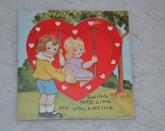 Vintage Valentine Little Girl on Swing 1940 made in the USA