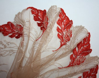 Nude Width beautiful shimmering net embroidery Lace trim to altered your couture designs-