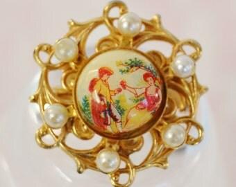 Vintage Faux Pearl Cameo Brooch by Karu