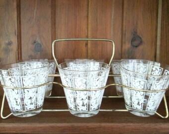 Mid Century Rock Glasses Holder Stand / Vintage 1950s 1960s Barware  / Set of 6 Old Fashioned Beverage Glass