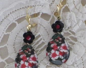 ISLAND Flower EARRINGS - Tropical Red  - White - Black DANGLES