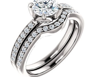 Certified center Natural White Sapphire Solid  14k white gold diamond  Engagement Ring Set ST233155