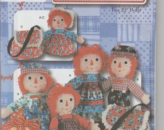 "Raggedy Ann Andy Sewing Pattern  Simplicity 5868 21"" dolls. FREE U.S. SHIPPING"