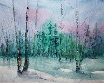 Snowfall, Print of Original Watercolor Painting, watercolor art, watercolor print, winter painting.