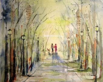 City Walk, Print Of Original Watercolor Painting, watercolor art, watercolor print, park walk, city watercolor, couple walking a dog.