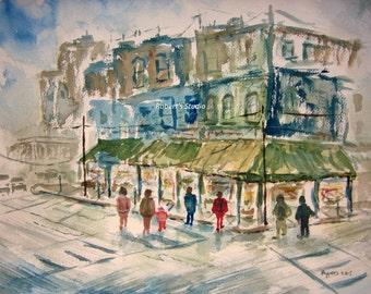 Fine Art Print of original watercolor painting, watercolor cityscape, city street painting, city painting, city shops, urban landscape.