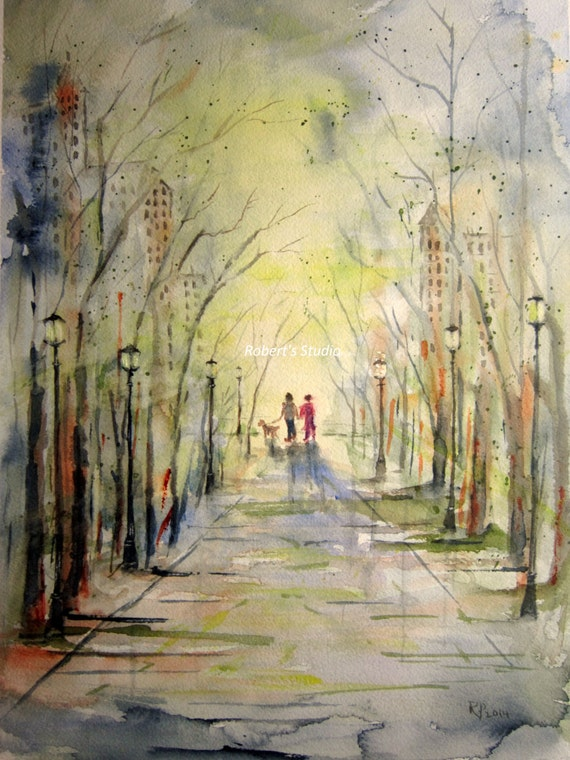 City Walk Print Of Original Watercolor Painting Matted By