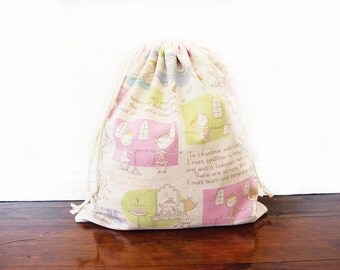 Large Drawstring Bag / Library Bag / Laundry Bag - Pastel Ballerina