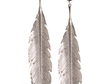 Large Feather  Earrings with posts