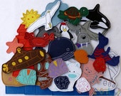 Sea collection (big package - 30 pieces) - felt toys with magnetic layer on the back