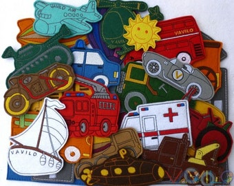 Vehicles (big package - 30 pieces) - felt toy with magnetic layer on the back