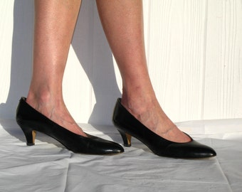 80s Pappagallo Shoes * Black Leather Pumps * Black Pumps * Pappagallo Pumps * Preppy Pumps * Black Heels