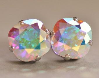 Aurora Borealis Cushion Stud Earrings,Swarovski Crystal Earrings,Crystal AB,Rounded Square Post,Light Swarovski Pastel Rainbow,Weddings