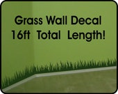Grass Wall Decal wall border - removable vinyl wall stickers (6in x 22 ft long) for Heather