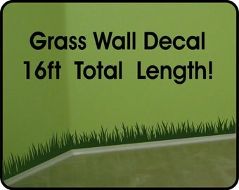 Grass Wall Decal wall border - removable vinyl wall stickers (6in x 16 ft long)
