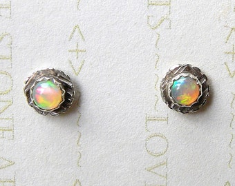 Natural Ethiopian Opals in a Textured Sterling Post Earring, Fire Opal, AAA+ 4mm E137