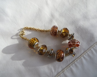 "6 1/2"" Topaz and Gold Bracelet with Round Clasp, bracelet, round clasp, gold, topaz"
