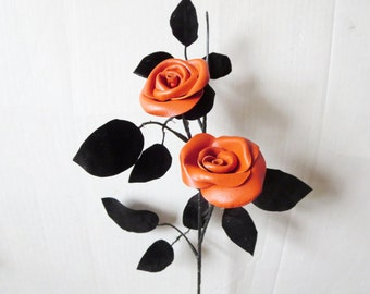 Wedding 3rd Anniversary Gift  -New  Orange  Leather Rose, Long Stem Flower Valentines Day