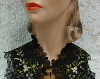 Antique Collar, Black Silk and Lace with Embroidery As Is