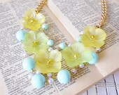 Yellow Flowers Beaded Bib Necklace