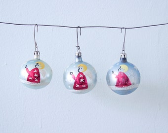 Set of 3 Light Blue Hand Painted Vintage Christmas Glass Ornaments with Angels