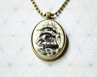 Men's Ship Necklace - Nautical Jewelry - Pirate Ship Necklace - Men's Jewelry - Faux Scrimshaw - Sailor - Schooner  - Men's Pendant Necklace