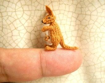Micro Mini Kangaroo - Miniature Crochet Amigurumi  Animal - Made To Order