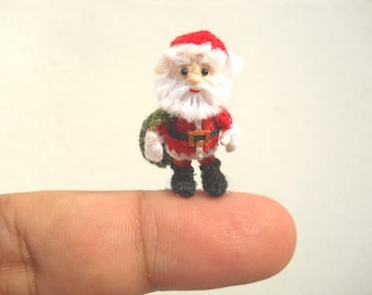 Miniature Santa Claus - Micro Amigurumi Crochet Tiny Doll - Made To Order