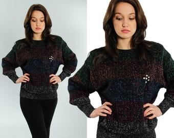 Vintage Glitter Sweater   Western Connection Winter Fall Top Shirt Scoop Neckline Metallic Black Stripes Sparkle Flower USA   15T