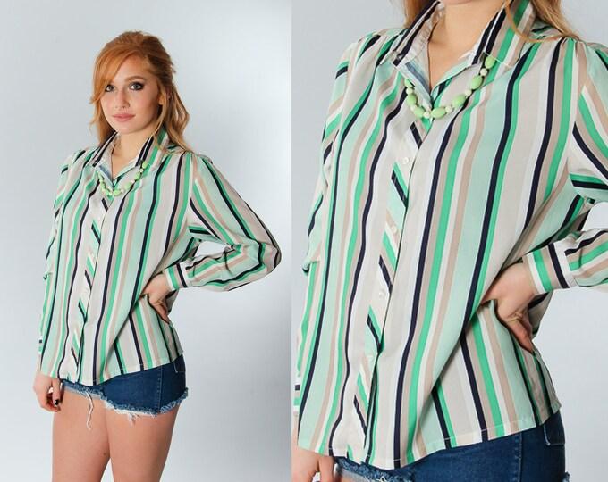 Size 4 Vintage Green Striped Blouse | 5CC