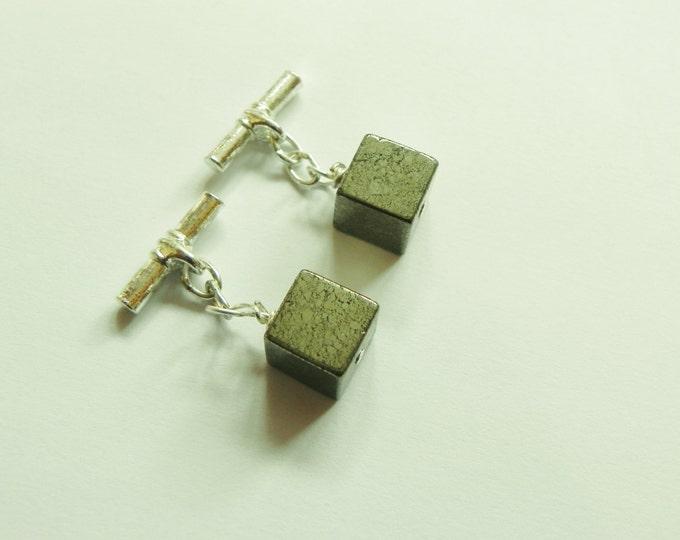 Handmade pyrite cube gemstone cufflinks