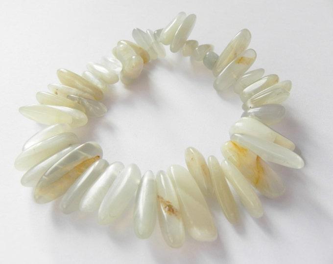 Moonstone elasticated gemstone bracelet, grey, cream, spiky, spiked, gemstone, moonstone bracelet, june birthstone