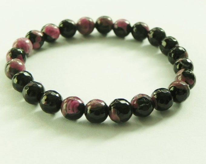 Pink and black agate gemstone stretch bracelet, pink and black, black sparkle, gemstone stretch bracelet, stackable