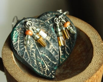 Faux Turquoise earrings, Polymer Leaf Earrings, Turquoise and Gold, Silver Plated, Hypoallergenic