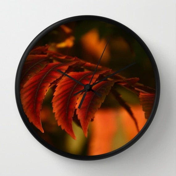Autumn Leaves Photography Wall Clock,copper,red wine,Nature photography on clock,home decor,great gift idea,unique photography wall clock,