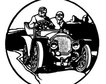 """Clear stamp (2.5"""" x 2.5"""") FLONZ clingy acrylic stamp // Retro Auto Racers Engraving"""