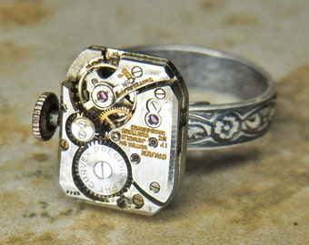 Women's STEAMPUNK Ring Jewelry - Torch Soldered - Antique CURVEX GRUEN Rectangular Watch Movement w/ Adjustable Floral Band - Amazing Design