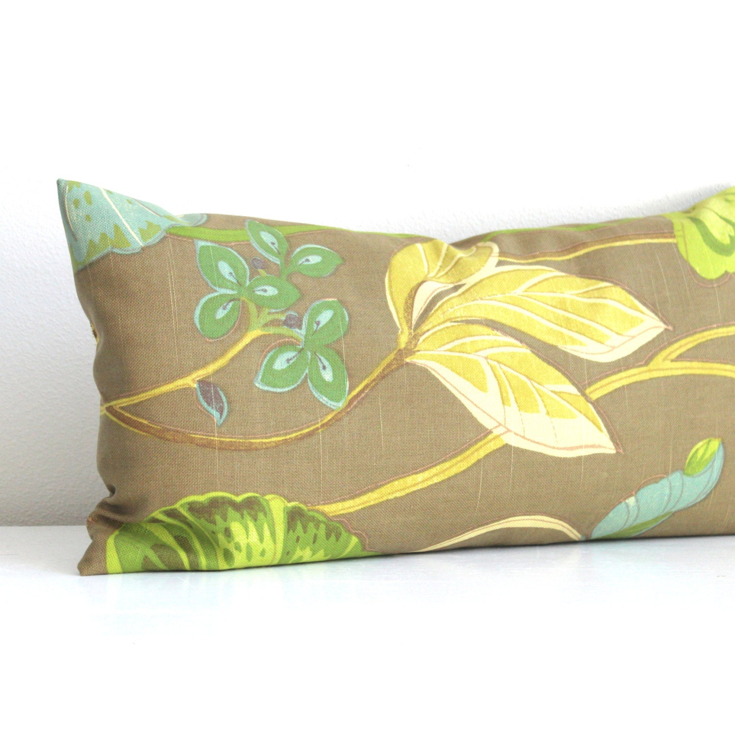 Lumbar Pillow Cover Olive Green Botanical Decorative Oblong