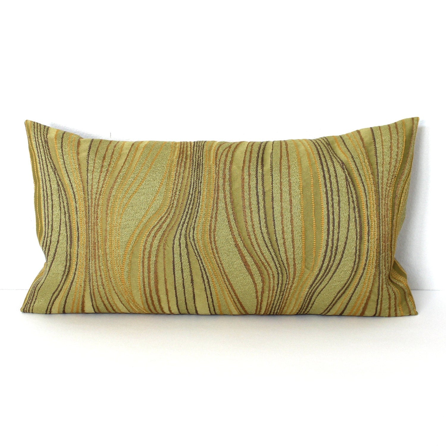 Lumbar Pillow Cover Green Abstract Decorative Oblong Accent