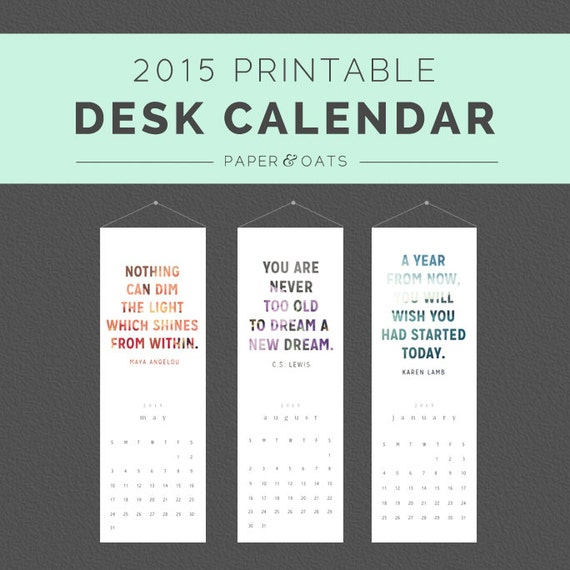 Inspirational Quotes Desk Calendar : New printable desk or wall calendar pdf by