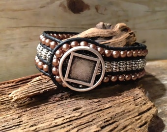 Tibetan Silver and Pearl Cuff Leather Wrap  Beaded Bracelet