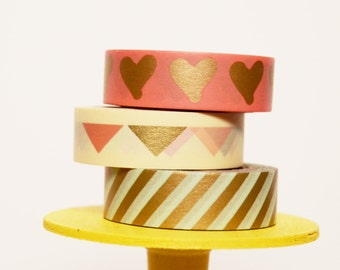 Gold Mint Coral Washi Tape Set Coral Gold Hearts / Coral Gold Mint Triangles / Mint Gold Diagonal Stripe