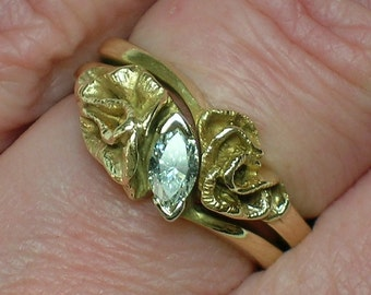 Retro Wedding Set, Marquise Diamond, Eternal Love 14K Yellow Gold, Modern Design. Size 4 1/2