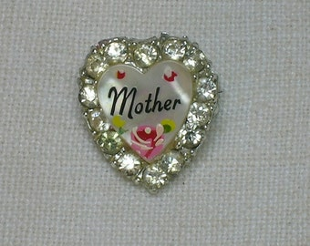 Vintage Brooch: Heart Shaped Mother Pin, For Mom, Rhinestone & MOP