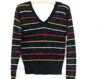 80s METALLIC STRIPED PULLOVER vintage glitter lurex double v neck sweater S