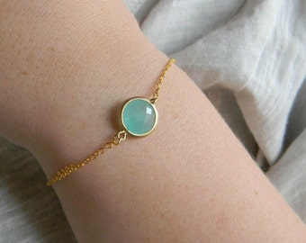 Mint Bridesmaid Bracelet - Mint Jewelry - Tiny Bracelet - Personalized Bracelet - Delicate Gold Bracelet- Layering Bracelet