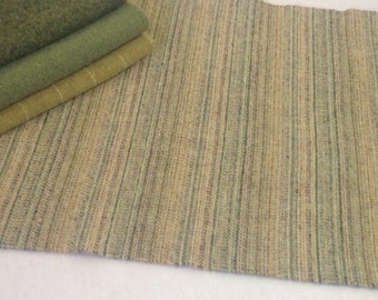 Golden Green Stripe, Wool for Rug Hooking and Applique, Select-a-Size, J887