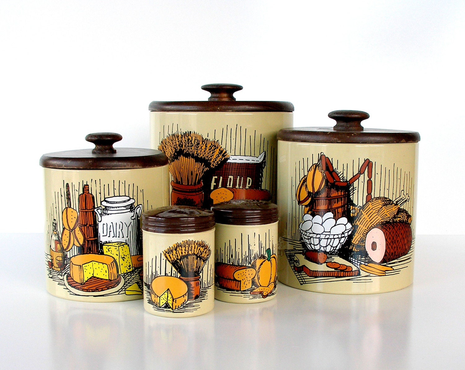 Vintage Kitchen Canister Set Metal Kitchen Canisters Salt