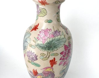 Famille Rose Vase- Lily Pad Dragonfly- Garden Lover China